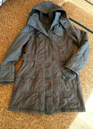 Парка коричневая пальто с капюшоном