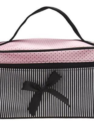 Косметичка саквояж женская на молнии для косметики и аксессуаров black pink