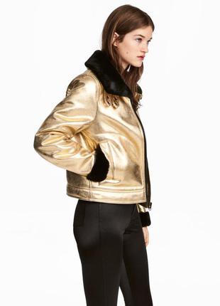 Акция! блестящая куртка-пилот по супер цене 1100грн, размер 36,38.