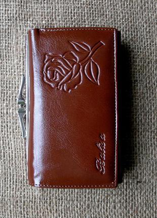 Кожаный кошелек портмоне brown rose, 100% натуральная кожа