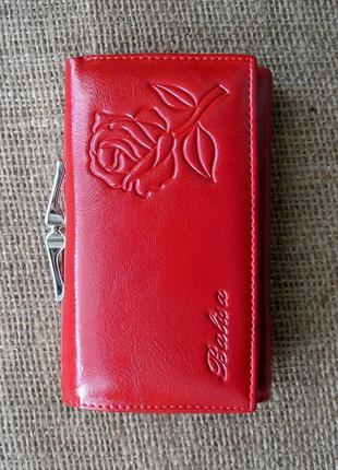 Кожаный кошелек портмоне red rose, 100% натуральная кожа