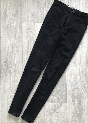 Чёрные джинсы с высокой посадкой талией denim co