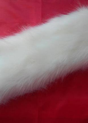 Белая меховая полоска повязка на голову