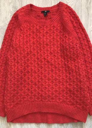 Красный вязанный свитер oversize оверсайз h&m