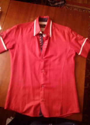 Рубашка, короткий рукав с запанками