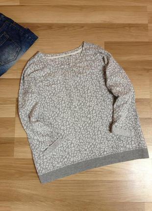 Серый реглан, весенний свитшот, джемпер, кофта рукав3/4, пуловер свободного кроя хл-ххл