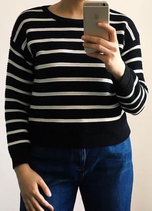 Полосатый свитшот в выпуклый рубчик new look черный джемпер черно-белый свитер в полоску