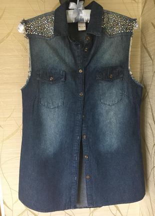 Джинсовая жилетка безрукавка vila clothes