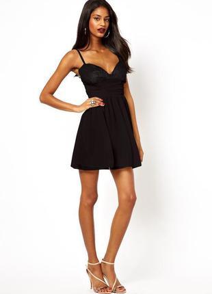 Черное кружевное мини платье elise ryan,  вечернее платье, размер uk8.