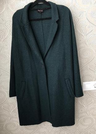 Стильное шерстяное пальто  бойфренд накидка кардиган
