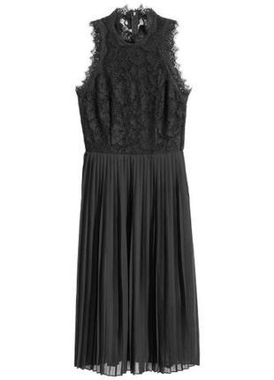 Чёрное кружевное платье h&m