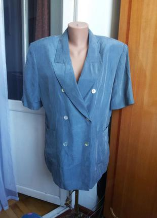 Винтажный шелковый пиджак raphaela marco 100% натуральный шелк