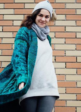 Зеленое вязаное пальто ручной работы, оверсайз