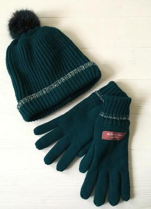 Стильный вязаный комплект: шапка и перчатки 🧤