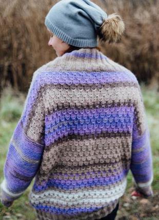 Вязаный вручную свитер оверсайз, меланж