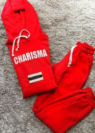 Теплый красный спортивный флисовый костюм теплый charisma брюки свитшот с капюшоном4