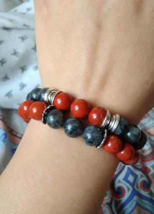 Набор браслетов из натурального камня яшма и лабрадор для неё и него