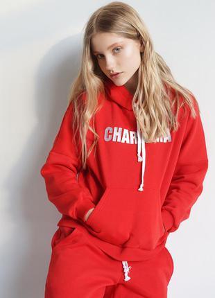 Теплый красный спортивный флисовый костюм теплый charisma брюки свитшот с капюшоном2