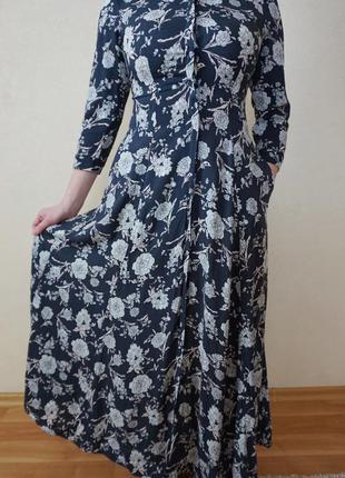 Платье длинное в пол хлопок zara по середине разрез