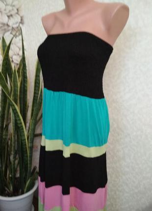 Длинное платье, сарафан в пол, вискоза, полосы, 1+1= 50% скидки на 3ю вещь.