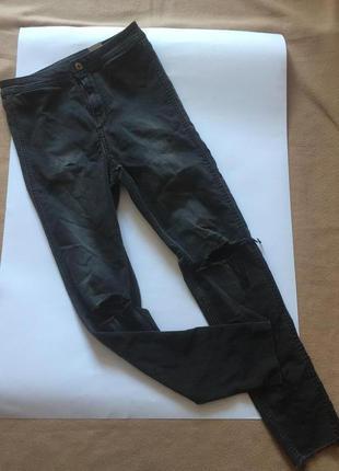 Темно серые рваные джинсы с высокой посадкой от h&m