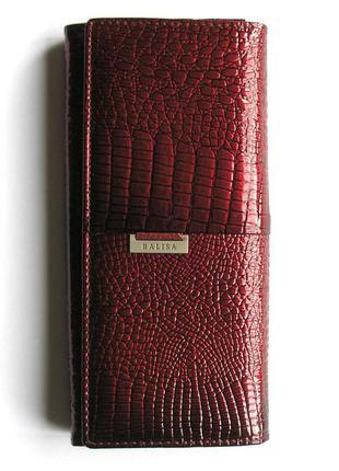 Большой кожаный лаковый кошелек red wine, 100% натуральная кожа, доставка бесплатно.