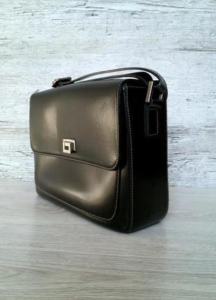 Swiss черная кожаная сумка портфель 100% натуральная кожа / сделано в швейцарии
