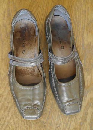 Туфлі шкіряні розмір 39 стелька 25,5 см золотисті tamaris