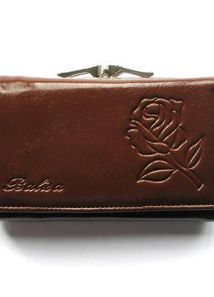 Кожаный кошелек портмоне шоколадная роза, 100% натуральная кожа, доставка бесплатно.