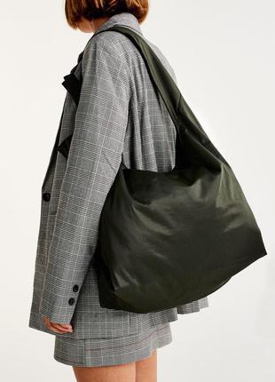 Большая черная сумка - шопер pull&bear