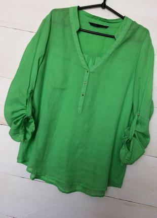 Яркая рубашка/блуза,зеленого цвета с золотистыми пуговицами !