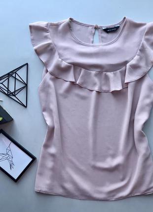 Роскошьная блузка нюдовая бежевая свободная блуза с рюшами