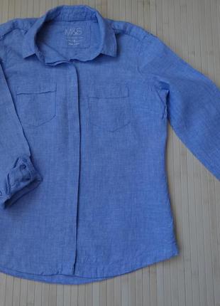 Льняная рубашка marks & spencer