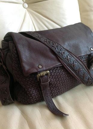 Vip! massimo dutti! крутая кожаная сумка почтальон – 100% натуральная козья кожа
