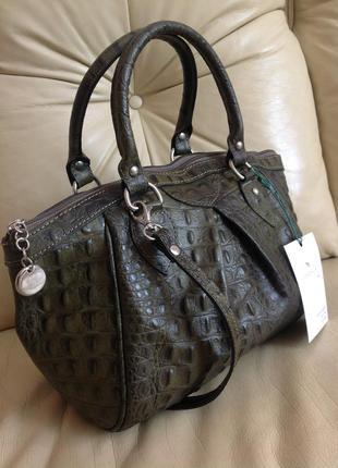 Vip объемная кожаная сумка - 100% натуральная кожа тиснение крокодил – италия - новая