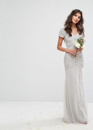 Роскошное платье с бисером и бусами amelia rose,р-р 8