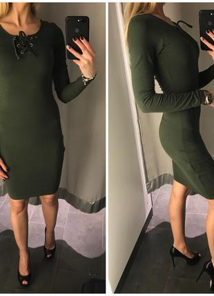 Xs s m l  новое зеленое хаки облегающее платье по фигуре миди amisu со шнуровкой