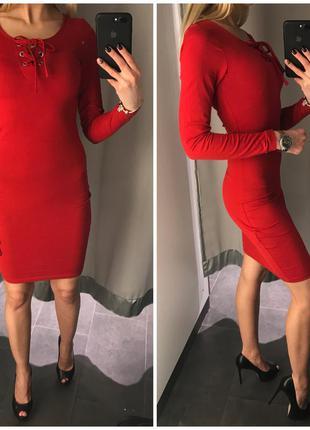 Xs s m l  новое красное облегающее платье по фигуре миди amisu со шнуровкой