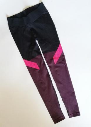 Компрессионные спортивные штаны, яркие лосины h&m - 36 р.