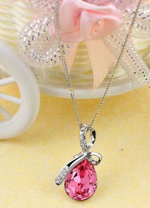 Модная цепочка с розовым кулоном горный хрусталь
