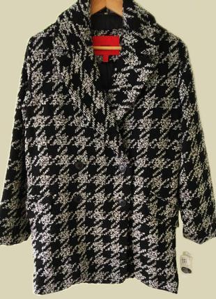 Mango шерстяное текстурное пальто бойфренд