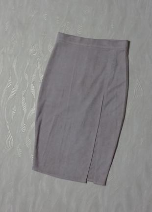 Бежевая юбка карандаш missguided под замшу, р.xs1