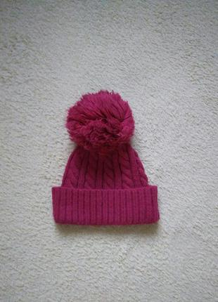 Шапка розовая малиновая вязаная бубон бумбон помпон лало косами коса шапочка зимняя теплая