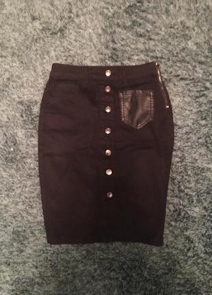 Юбка джинсовая высокая талия, карандаш, облегающая, high waist skinny вечернее костюм