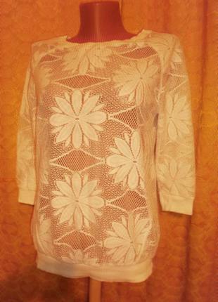 Ажурная блуза сетка белая р. s - atmosphere
