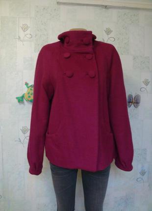 Стильное пальто-куртка шерстяное оверсайз/ актуальный цвет/ 44-46 размер демисезонное