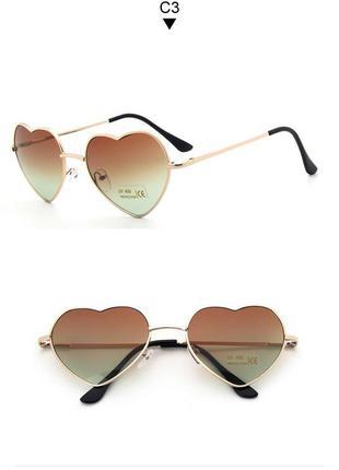 Солнцезащитные очки-сердечки с тонкой золотой оправой и линзой  коричнево-серый градиент 8ec69058c2b