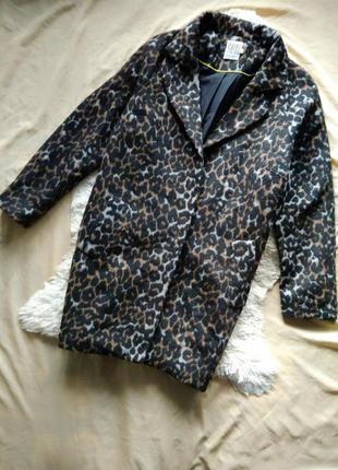 Леопардовое пальто кокон, оверсайз, бойфренд, oversize, boyfriend, saint tropez (asos), m