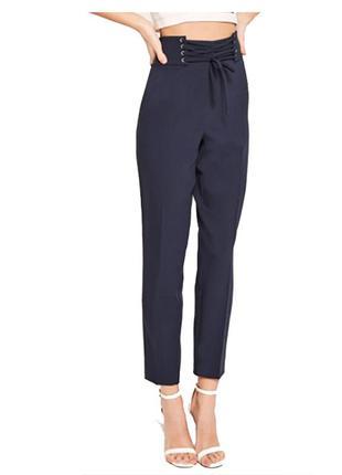 Новые темно-синие брюки со шнуровкой на талии, высокая посадка, длина 7/8