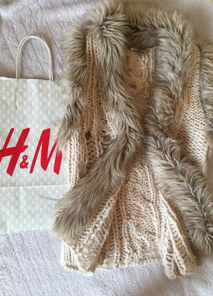 Жилетка вязанная с мехом h&m